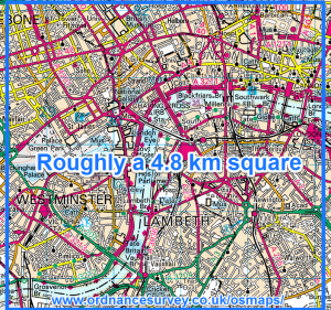 Roughly a 4.8km square on London