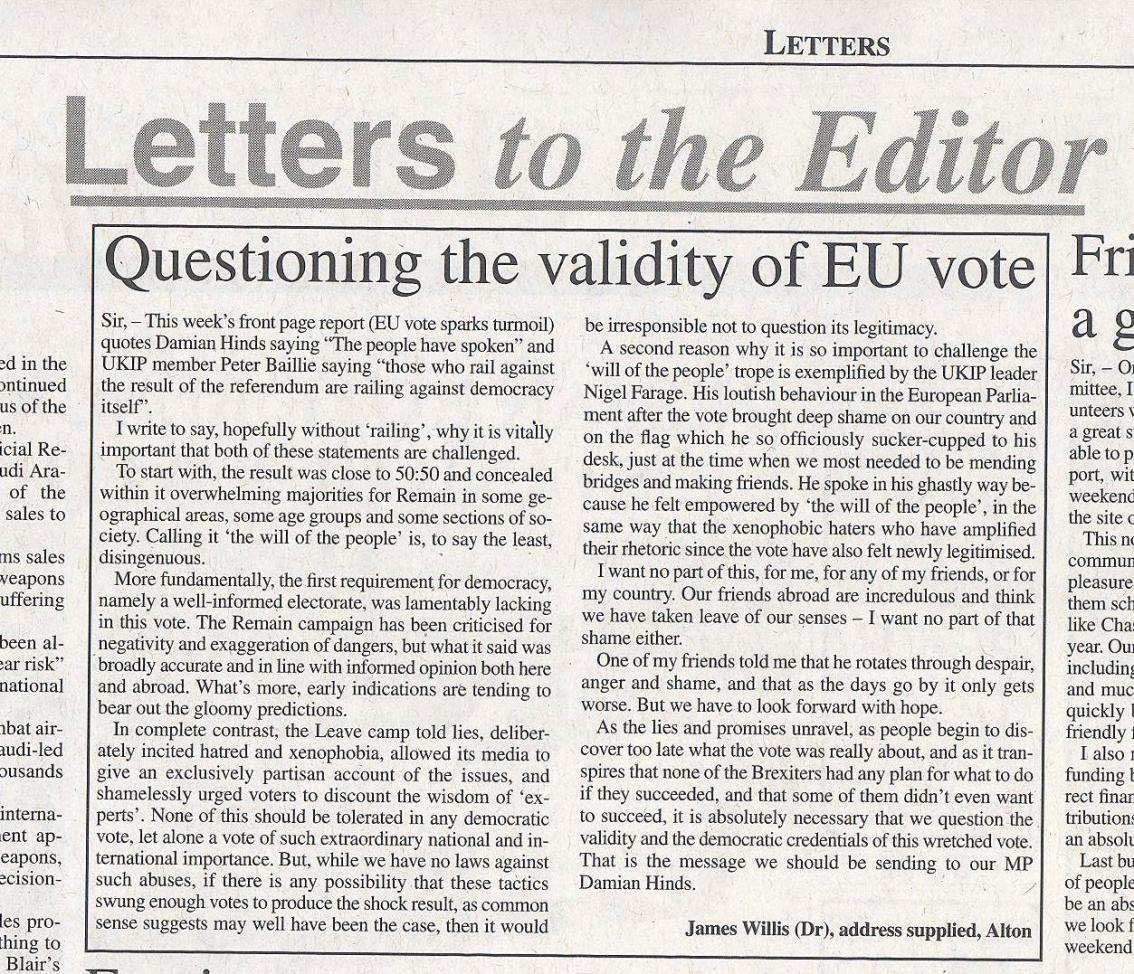 Questioning the validity of the EUvote