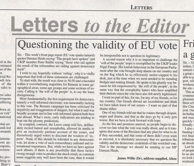 Questioning the validity of the EU vote